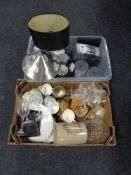 Two boxes of glass, kitchen storage jars, table lamps, wall clock,