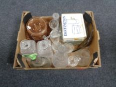 A box of glass ware, decanters,