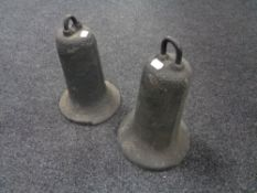 Two cast iron bells
