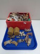 A large quantity of painted metal animal figures,