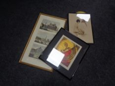 A group of three hand coloured engravings of Rome, framed,