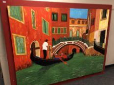 Gareth Thomas : oil on canvas depicting a gondola