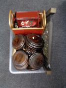 A box of wooden stands and lidded bowls, lidded jewellery box,