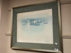 Continental school : Boats in harbour, oil on board, indistinctly signed, framed.