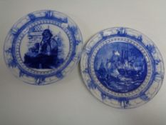 A pair of antique Royal Doulton blue and white plates - Battle of Trafalgar together with one other.