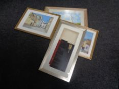 A framed signed print of a street scene and four further prints