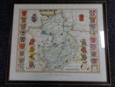 A framed J. Blaeu limited edition 1645 map of Cambridgeshire with hand colours, 17/100.