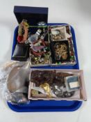 A tray of costume jewellery, wrist watches,