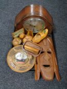 A tray of oak cased Bentima clock, wooden mask,