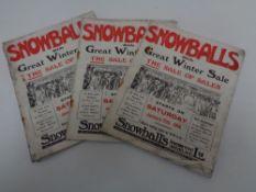 Seven 1914 Snow Balls winter sales catalogues
