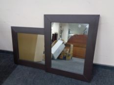 Two contemporary leather framed mirrors