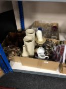 Three boxes of champagne glasses, glass, pottery vases,