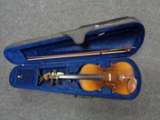 A twentieth century Chinese violin with bow in case