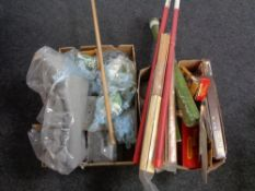 Two boxes of Triang railway track building accessories,