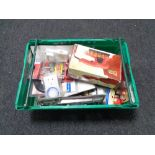 A crate of new and used tools, angle finders, mortice gauge,