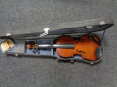 A Chinese violin in case with bow