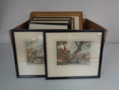 Two boxes of antiquarian hand coloured engravings,