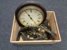 A box of wooden and brass wall clock,