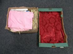 Two boxes of curtains and linen