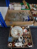 Three boxes of twentieth century glass ware, continental figures,