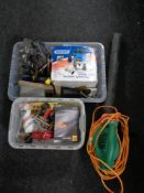 Two plastic crates of Draper router, hand tools,