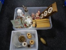 Two plastic crates of miscellaneous, claret jug, framed Staffordshire plaques, figurines,