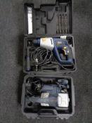 Two cased Macallister power tools - 750 watt hammer drill and Belt sander