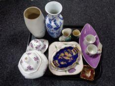 A tray of assorted china, character jugs, Carlton ware dish, Royal Winton bowl,