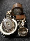 A tray of twentieth century oak cased Smiths mantel clock, wooden jewellery box,
