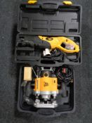 Two JCB cased power tools, reciprocating saw,