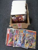 A box of approximately 100 American super hero comics in protective covers
