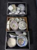 Two crates and a box of assorted china, collector's and cabinet plates, Doulton tea china,