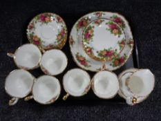 A 21 piece Royal Albert Old Country Roses tea service
