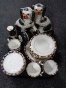 A tray of pair of Staffordshire dog figures, Crown Devon fieldings vases,