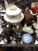 A tray of six pieces of Wedgwood jasper ware, china shire horses,