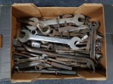 A box of large quantity of metal hand tools