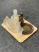 A tray of crystal vase and goblet, Stuart crystal,