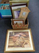A box of framed pictures and prints, Quartz wall clock,