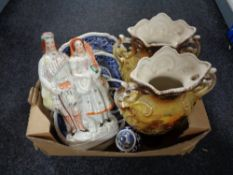 A box of antique printed vases, Staffordshire figure,