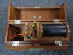 An early twentieth century wooden cased shock machine
