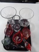 A tray of glass, vases,