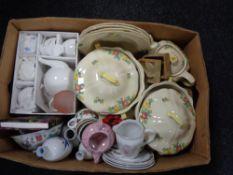 A box of miscellaneous tea china, Royal Doulton part dinner service,