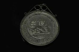 A Bank of Sierra Leone 10th Anniversary one Leone coin in pendant mount.