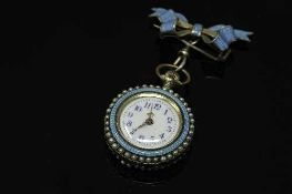 An early twentieth century silver and enamelled Swiss fob watch, cylinder movement with white dial,