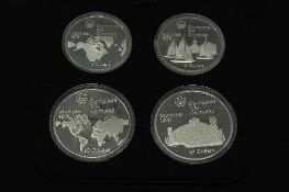 The Royal Canadian Mint - Olympic silver coin proof set comprising of two $5 and two $10 coins.