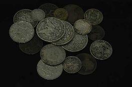 Three American silver dollar coins 1889,