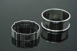 Two silver napkin rings - Birmingham 1929 & 1912, 32.8g.