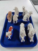 A tray of Staffordshire style dog figures