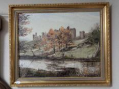 A gilt framed Dallas Taylor oil on board - Alnwick Castle from the river