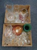 Two boxes of glass ware, vases,
